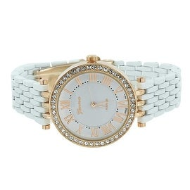 Womens Geneva Watch Simulated Diamonds Roman Numerals Analog Display Stainless Steel back