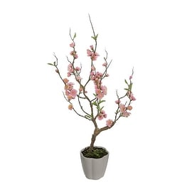 """28"""" Pink Artificial Ming Cherry Blossom Tree in a Pot Table Top Decoration"""