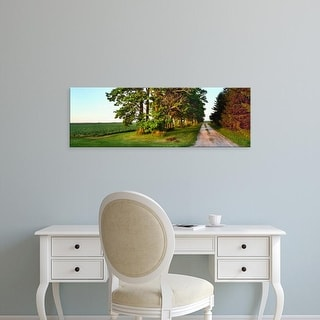 Easy Art Prints Panoramic Images's 'Dirt road passing through farm and trees, Midwest, USA' Premium Canvas Art