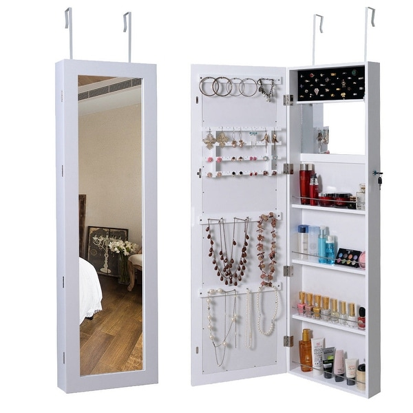 Costway Lockable Wall Mount Mirrored Jewelry Cabinet Armoire Organizer Storage Box