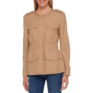 Tommy Hilfiger Womens Jacket Zip Front Collarless - 10