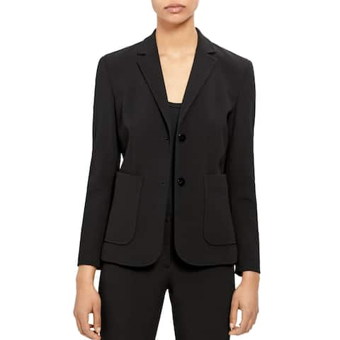 Theory Women's Jacket Intense Black Size 6 Notch Collar Pocket Front
