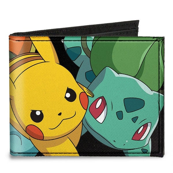 Kanto Starter Trio & Pikachu Stacked Black Canvas Bi Fold Wallet One Size - One Size Fits most