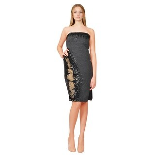 Donna Karan Chic Strapless Sequined Mixed Media Cocktail Evening Dress - 8