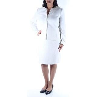TAHARI $320 Womens New 1161 White Beaded Suit Pencil Skirt Suit 12 B+B