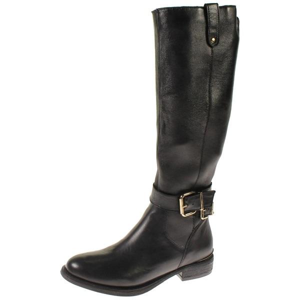 Steve Madden Womens Aviaa Riding Boots Leather Belted - 6 medium (b,m)