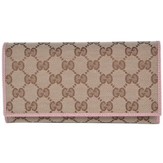 "Gucci Women's 346058 Beige Pink Canvas Leather Continental Bifold Wallet - measures 7.5"" x 4"" x 1"" (when closed)"