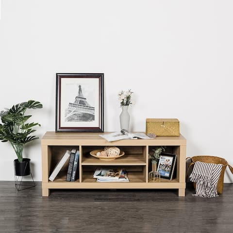 Cloud Mountain Mid Century Modern Wood Universal Stand Cabinet Door and Shelves Living Room Storage Entertainment Center