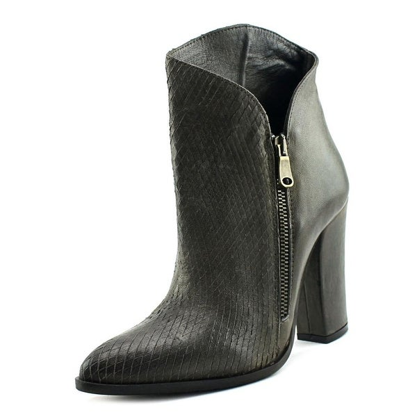 Charles David Chocolate Women Pointed Toe Leather Bootie