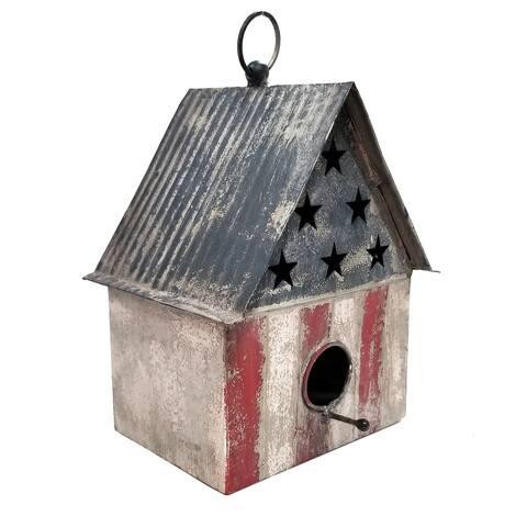 Alpine 10-Inch Outdoor Patriotic Birdhouse, Multicolor