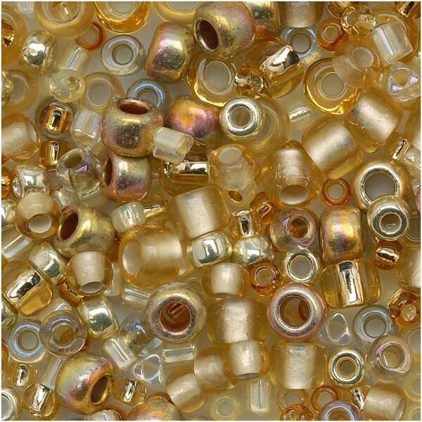 Toho Multi-Shape Glass Beads 'Kintaro' Gold Color Mix 8 Gram Tube