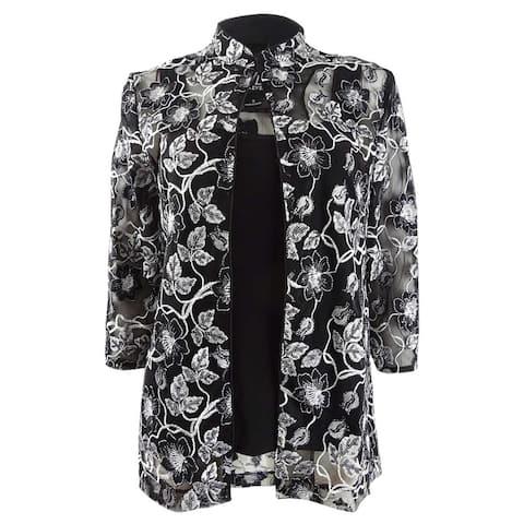 Alex Evenings Women's Sheer Embroidered Jacket & Shell (S, Black/White) - Black/White - S