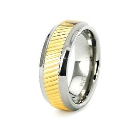 7mm Titanium Ring with Beveled Edge 18K Gold Plated Center (Sizes 6-8)