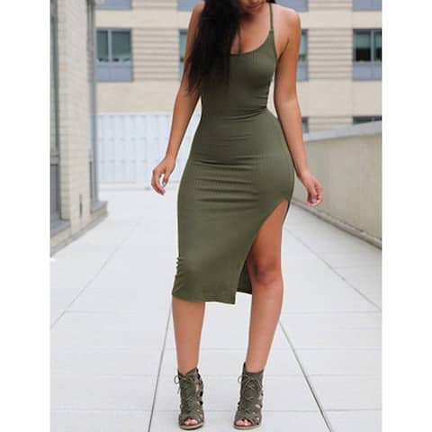Ninimour Women's Solid Sleeveless Spaghetti Strap Side Slit Bodycon Dress,Army Green M