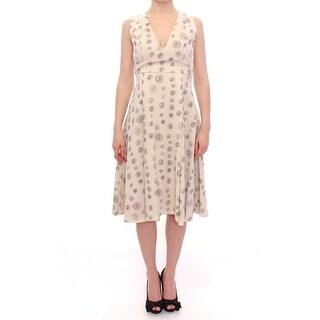 Andrea Incontri Andrea Incontri White Printed Shift V-neck Sheath Dress