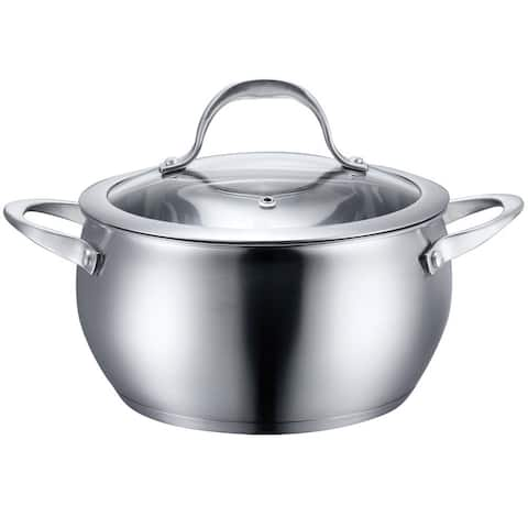 Diamond Home Stainless Steel Round Casserole Pot With Tempered Glass Lid - Oven Safe Up To 350 F, 6 Quart, Silver