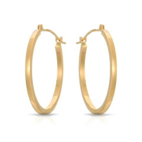 Mcs Jewelry Inc 14 KARAT YELLOW GOLD SQUARE TUBE HOOP EARRINGS (20MM)