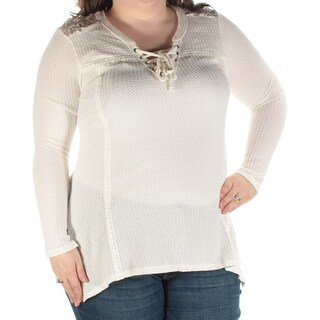 AMERICAN RAG Womens Ivory Lace Lace-up Long Sleeve V Neck Top Juniors Size: XXL