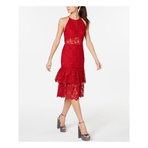 RACHEL ZOE Womens Red Sleeveless Midi Sheath Cocktail Dress Size 2