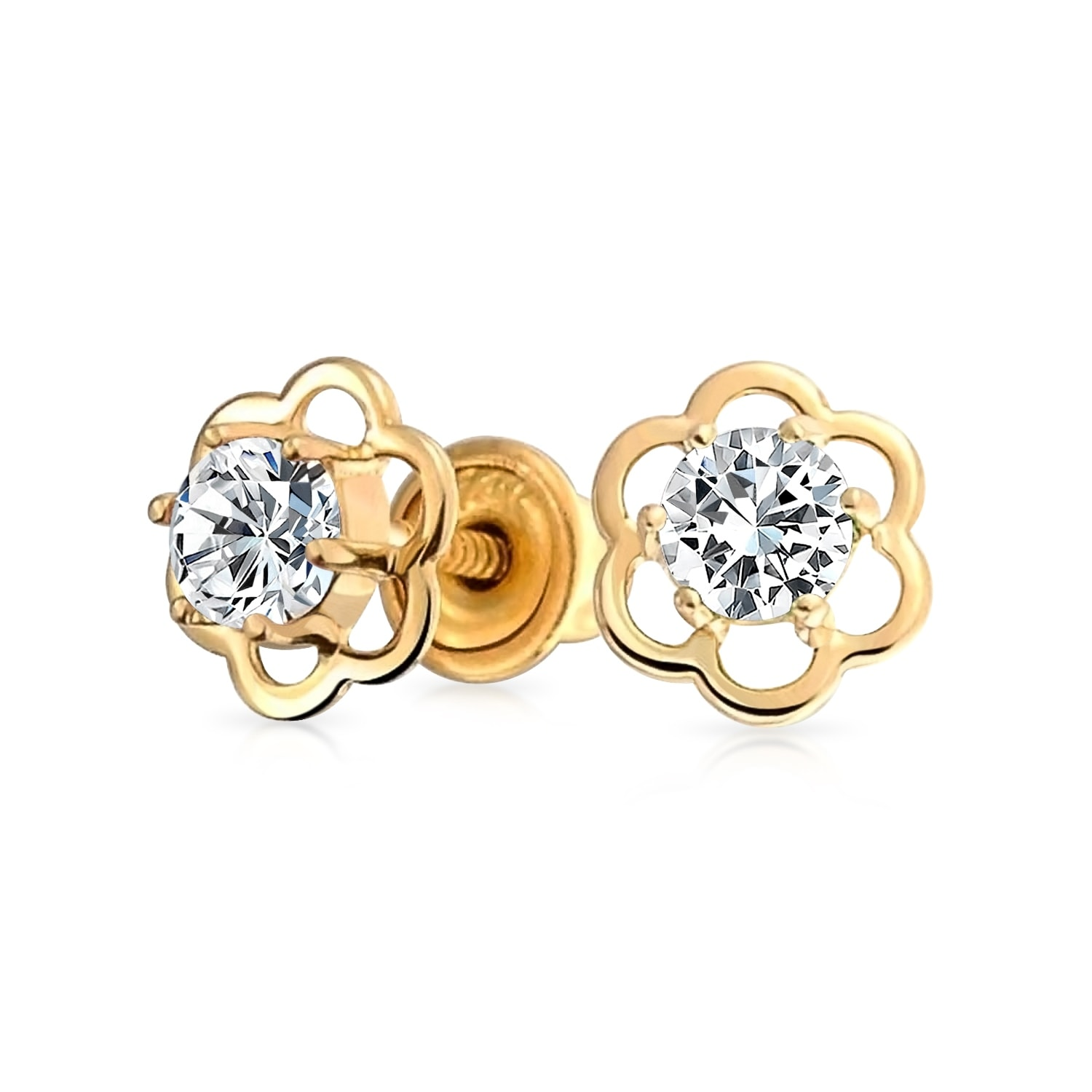 14K Yellow Gold CZ Flower and CZ Center Earrings for Women and Girls