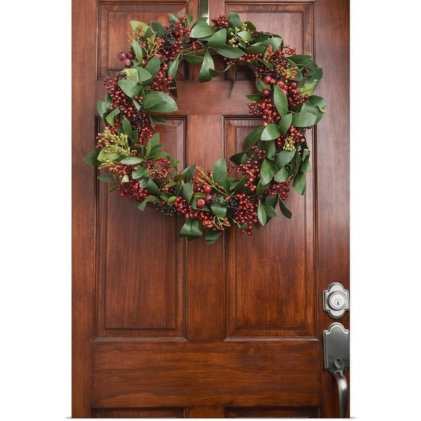 Shop Poster Print Entitled Christmas Wreath On Door Multi Color