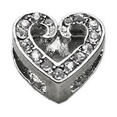 "3/8"" Slider Scripty Heart Charm Clear 3/8"""