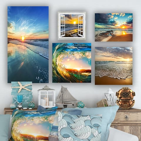 Designart - Coastal and Beach Collection - Coastal Wall Art set of 5 pieces - Blue