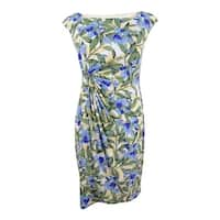 Connected Women's Petite Printed Faux-Wrap Dress