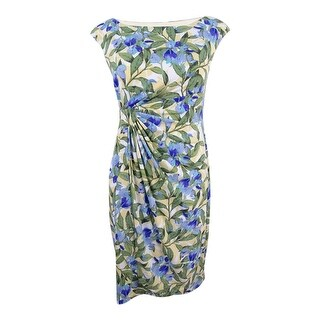 Connected Women's Petite Printed Faux-Wrap Dress - lavender