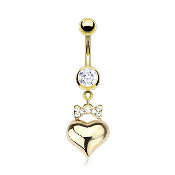 Gold Plated Stainless Steel Navel Belly Button Ring with Paved Gem Ribbon with Heart