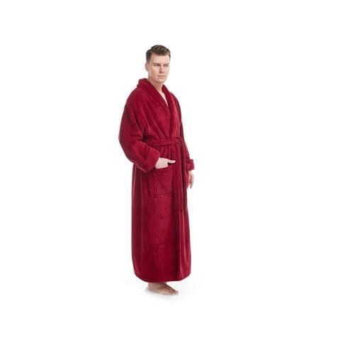 Men's Shawl Collar Premium Fleece Bathrobe Turkish Soft Plush Robe with Full Ankle Length Options