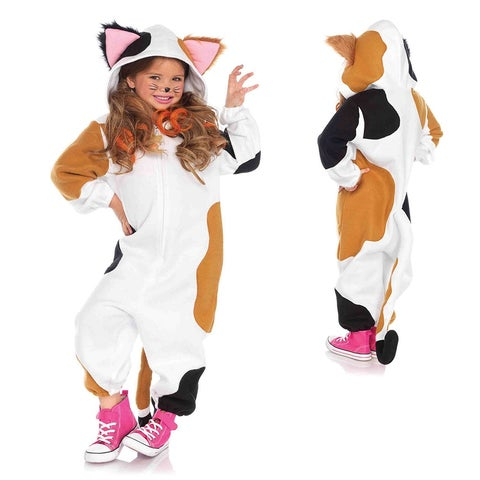 Kids Calico Cat Kigarumi Funsie Jumpsuit Costume