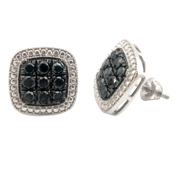 Brand New 1.35 Carat Genuine Black Diamond With Diamond Effect Screw Back Earring