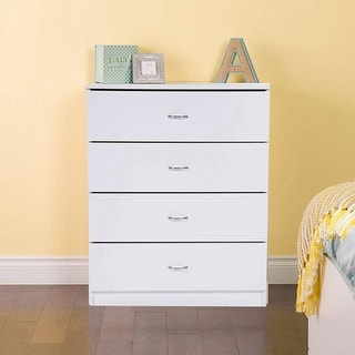 Link to Furniture MDF 4-drawer Wood Storage Chest Nightstand White/Black Similar Items in Dressers & Chests