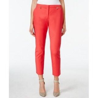 Calvin Klein NEW Pink Womens Size 12 Zip-Trim Skinny Ankle Dress Pants