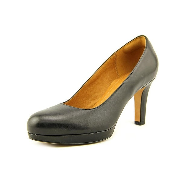 Clarks Narrative Delsie Bliss Women Round Toe Leather Black Heels