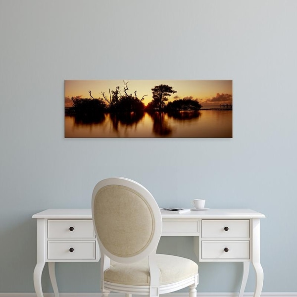 Easy Art Prints Panoramic Image 'Silhouette of trees at sunset, Oyster Bar, Pine Island, Florida' Canvas Art