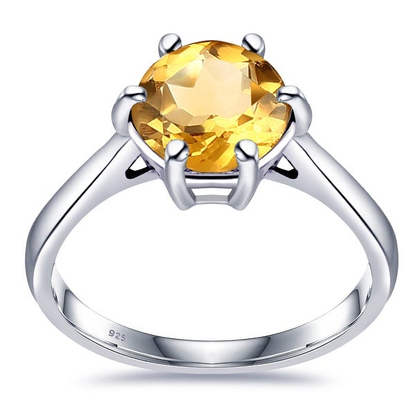 Multi Color Gemstones Sterling Silver Round Solitaire Ring by Orchid Jewelry. Opens flyout.