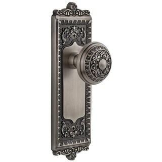 "Grandeur WINWIN_PSG_238  Windsor Solid Brass Rose Passage Door Knob Set with Windsor Knob and 2-3/8"" Backset"
