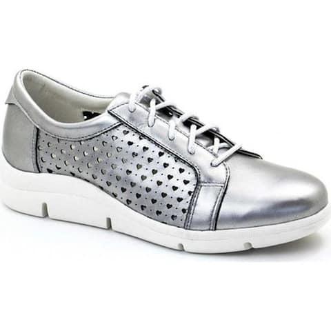 Dromedaris Women's Vivian Lace Up Sneaker Pewter Leather