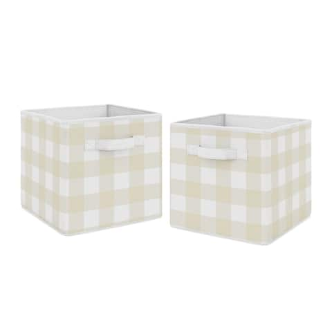 Beige and White Buffalo Plaid Check Foldable Fabric Storage Bins - for the Woodland Camo Collection