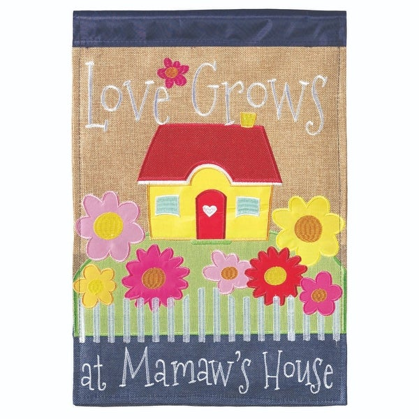 "Yellow and Red ""Love Grows at Mamaw's House"" Printed Rectangular Garden Flag 18"" x 13"" - N/A"
