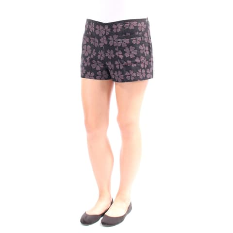 RACHEL ROY Womens Black Floral Short Size 10