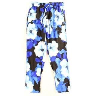 Calvin Klein NEW Blue Women Size Medium M Floral Print Drawstring Pants