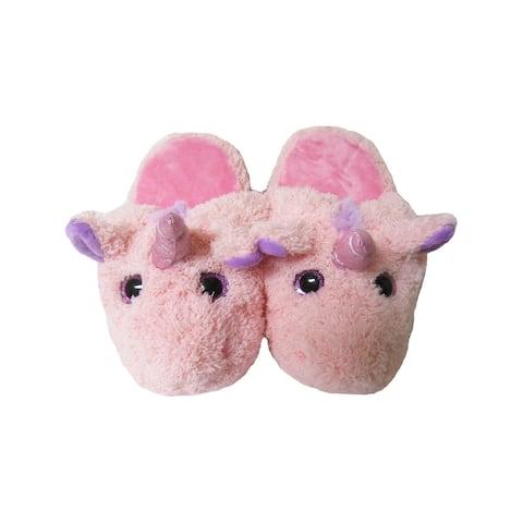Kreative Kids Little Girls Pink Unicorn Soft Plush Animal Slippers 12 Kids