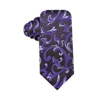 Alfani Spectrum Hand Made Monroe Paisley Slim Silk Tie Purple and Charcoal