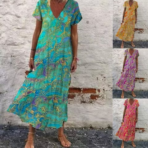 Women Short Sleeves V Neck A Line Unique Summer Maxi Dresses