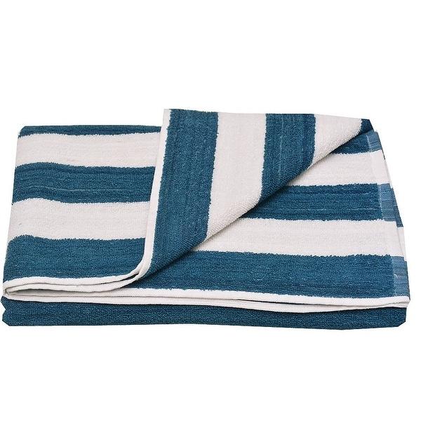 """Oxford Girls Navy White Stripe Pattern Bath Sheet Beach Towel 32""""x65"""""""