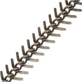 Antiqued Brass Bulk Chain, 10.5mm Fishbone Links, 1 Foot, Antiqued Brass