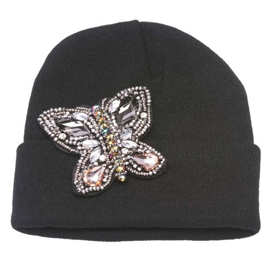 Womens Beaded Butterfly Cuffed Beanie